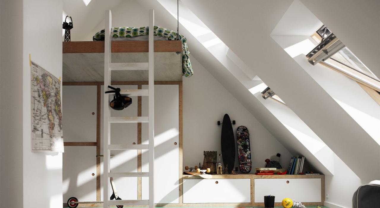 id es de chambre d 39 enfant avec des fen tres de toit velux. Black Bedroom Furniture Sets. Home Design Ideas